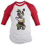 Shirts By Sarah Men's Funny Tea Rex Hipster Shirt Funny 3/4 Sleeve Raglan Shirts - Red/White / XX-Large - 6