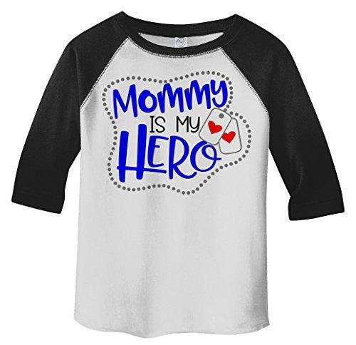 Shirts By Sarah Toddler Mommy Is Hero Soldier 3/4 Sleeve Raglan T-Shirt-Shirts By Sarah