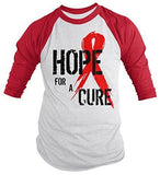 Shirts By Sarah Men's Red Ribbon Shirt Hope For Cure 3/4 Sleeve Raglan Shirts - Red/White / XX-Large - 2