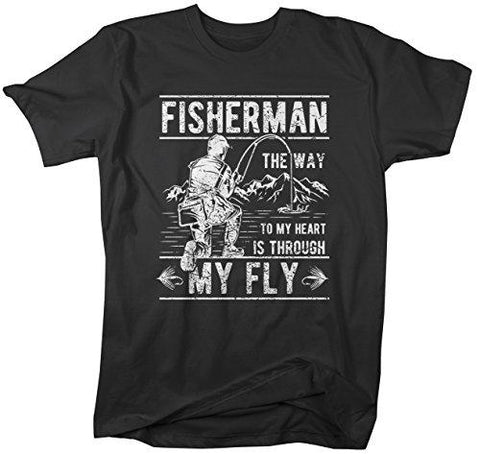 Men's Funny Fishing T-Shirt Way to Heart Through Fly Vintage Shirt-Shirts By Sarah