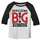 Shirts By Sarah Boy's Toddler Professional Big Brother T-Shirt Cute Sibling Shirt 3/4 Sleeve Raglan-Shirts By Sarah