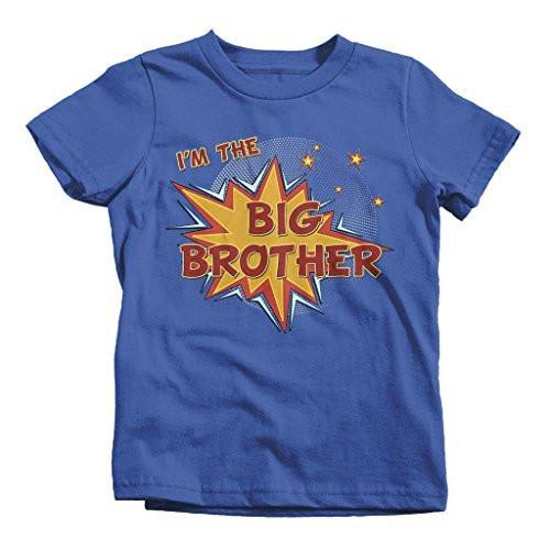 Shirts By Sarah Boy's Big I'm The Brother Comic T-Shirt Bubble Stars Fun Shirt-Shirts By Sarah