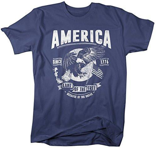 Shirts By Sarah Men's Patriotic Home Of Free Because Of Brave T-Shirt 4th July-Shirts By Sarah