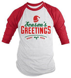 Shirts By Sarah Men's Christmas Shirt Seasons Greetings Merry Xmas 3/4 Sleeve Raglan Shirts-Shirts By Sarah