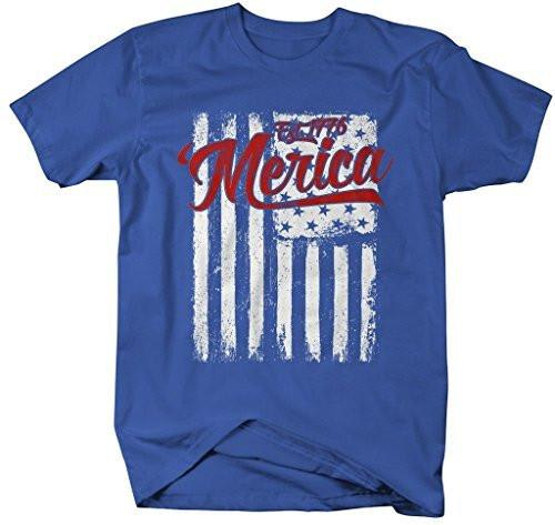 Shirts By Sarah Men's Merica Est. 1776 T-Shirt Distressed Flag 4th July Shirt-Shirts By Sarah