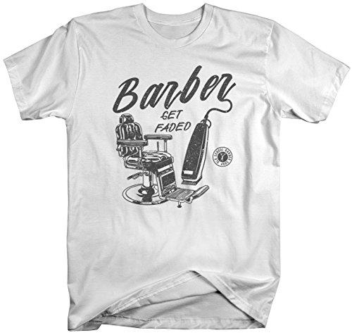 Men's Barber T-Shirt Get Faded Vintage Tee Chair Clippers Barbers Shirt-Shirts By Sarah