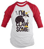 Shirts By Sarah Men's Funny Clawsome Cat Shirt 3/4 Sleeve Cute Raglan Shirts - Red/White / XX-Large - 6