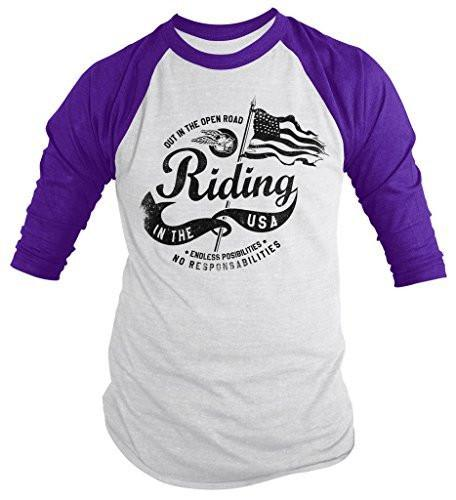 Shirts By Sarah Men's Motorcycle Open Road USA Flag Patriotic 3/4 Sleeve Raglan Shirt-Shirts By Sarah