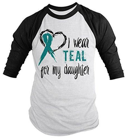 Shirts By Sarah Men's Wear Teal For Daughter 3/4 Sleeve Cancer Anxiety Awareness Ribbon Shirt - Black/White / XX-Large