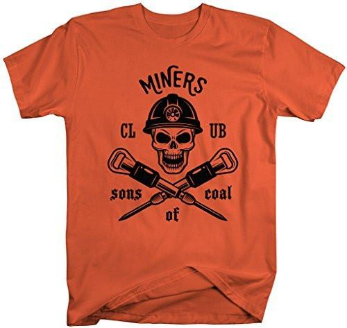 Shirts By Sarah Men's Coal Miner T-Shirt Sons Of Coal Skull T-Shirts Mining-Shirts By Sarah