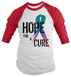 Shirts By Sarah Men's Hope For Cure Thyroid Shirt 3/4 Sleeve Awareness Ribbon Shirts - Red/White / XX-Large - 6