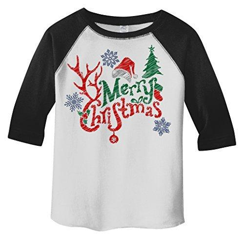 Shirts By Sarah Toddler's Merry Christmas 3/4 Sleeve Raglan Cute Antlers Hat-Shirts By Sarah