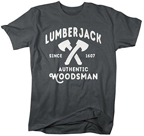 Shirts By Sarah Men's Lumberjack T-Shirt Authentic Woodsman Shirts Axe Man Tee-Shirts By Sarah