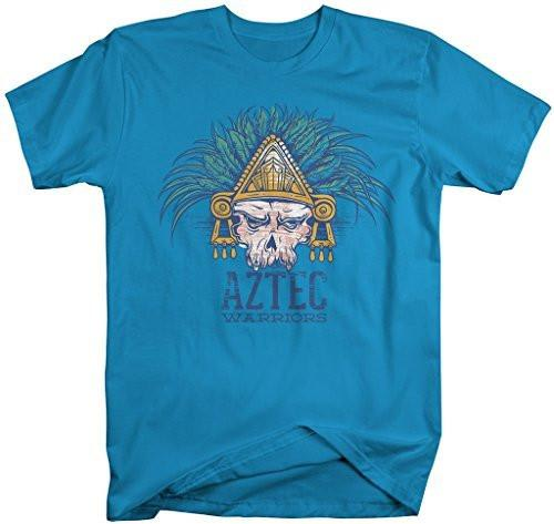 Shirts By Sarah Men's Hipster Aztec Shirt Warrior Skull T-Shirts-Shirts By Sarah