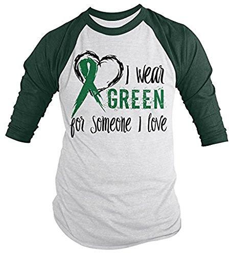Shirts By Sarah Men's Green Ribbon Wear For Someone I Love 3/4 Sleeve Raglan Awareness Shirts-Shirts By Sarah