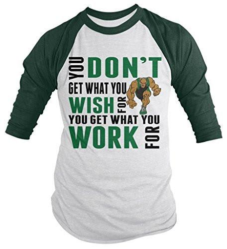 Shirts By Sarah Men's Wrestling Shirt Get What Work For 3/4 Sleeve Raglan Shirts-Shirts By Sarah
