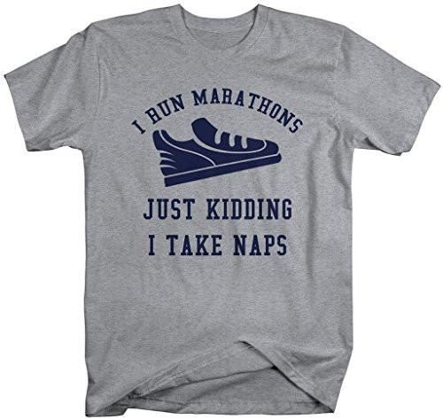 Shirts By Sarah Men's Funny Run Marathons Take Naps Workout T-shirt-Shirts By Sarah
