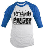 Shirts By Sarah Men's Funny Best Grandpa In Galaxy Shirt 3/4 Sleeve Raglan Father's Day Space-Shirts By Sarah