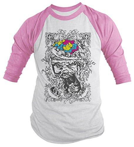 Shirts By Sarah Men's Zombie Skull Shirt 3/4 Sleeve Raglan Brains Shirts-Shirts By Sarah