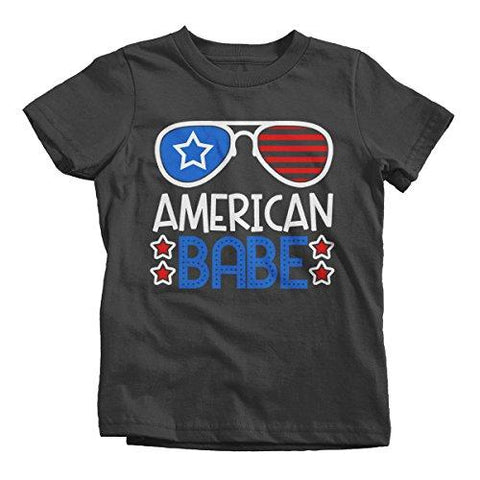 Shirts By Sarah Girl's American Babe 4th July Hipster T-Shirt Glasses Tee Shirts-Shirts By Sarah