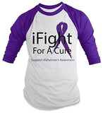 Shirts By Sarah Men's Alzheimer's Disease Awareness Shirt 3/4 Sleeve iFight For A Cure - Purple/white / XX-Large - 1