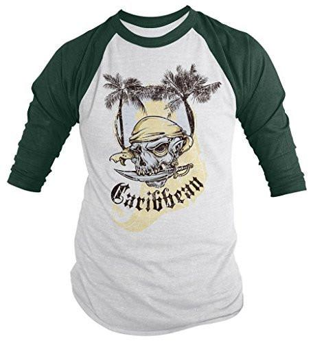 Shirts By Sarah Men's Caribbean Pirate Shirt 3/4 Sleeve Raglan Skull Shirts-Shirts By Sarah