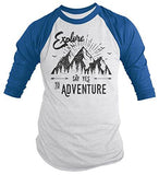 Men's Hipster Explore T-Shirt Mountains Adventure 3/4 Sleeve Raglan-Shirts By Sarah