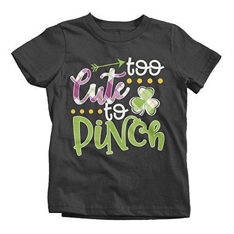 Shirts By Sarah Girl's Funny ST. Patrick's Day T-Shirt Too Cute To Pinch Toddler-Shirts By Sarah