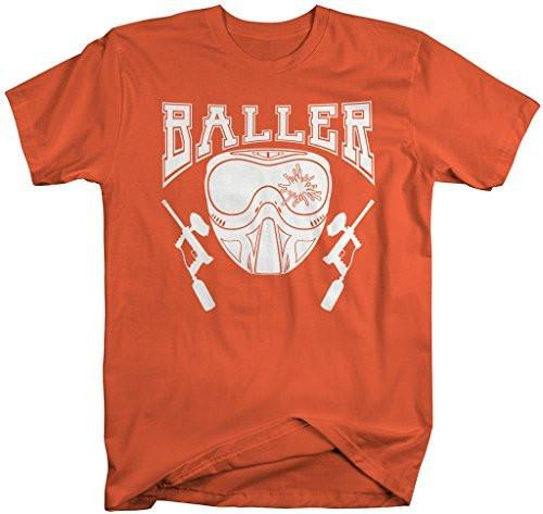 Shirts By Sarah Men's Paintball T-Shirt Baller Shirts Mask Guns-Shirts By Sarah