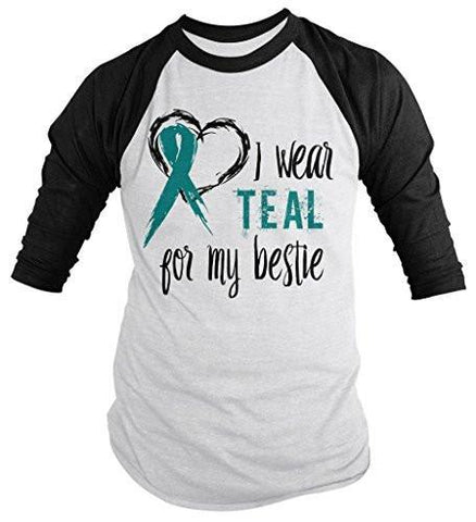 Shirts By Sarah Men's Wear Teal For Bestie 3/4 Sleeve Cancer Anxiety Awareness Ribbon Shirt - Black/White / XX-Large
