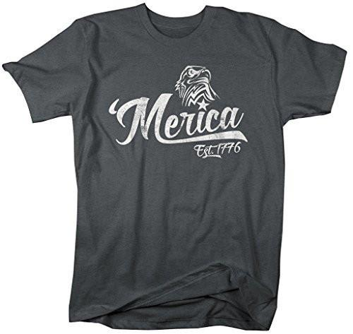 Shirts By Sarah Men's Patriotic 'Merica T-Shirt Est. 1776 Eagle Distressed 4th July Shirt-Shirts By Sarah