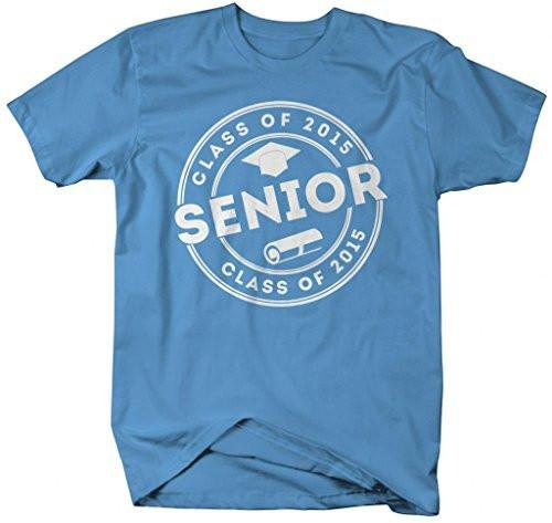 Shirts By Sarah Men's 2015 Senior Class T-Shirt Circle Badge Hat Diploma-Shirts By Sarah