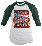Shirts By Sarah Men's Volunteer Firefighter Shirt 3/4 Sleeve Raglan Fire Truck Shirts-Shirts By Sarah