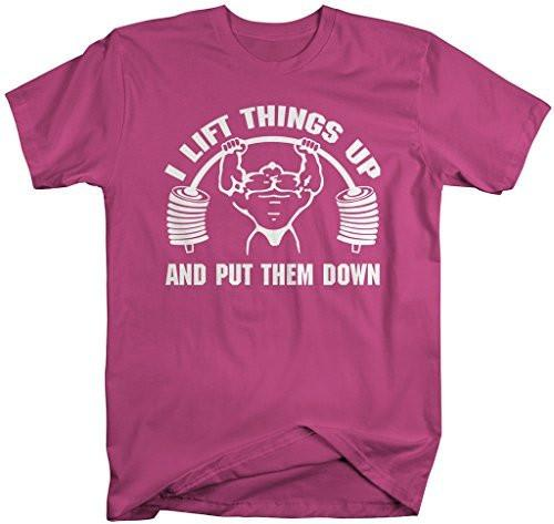 Shirts By Sarah Men's Funny Lift Things Up Weight Lifting T-Shirt-Shirts By Sarah
