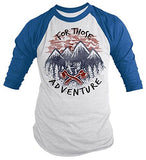 Men's Seek Adventure T-Shirt Mountains Nature Camping3/4 Sleeve Raglan-Shirts By Sarah