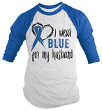 Shirts By Sarah Men's Blue Ribbon Shirt Wear For Husband 3/4 Sleeve Raglan Awareness Shirts-Shirts By Sarah