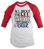 Shirts By Sarah Men's 4th July All About Red White Blue T-Shirt 3/4 Sleeve Raglan-Shirts By Sarah