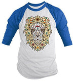 Shirts By Sarah Men's Lion Sugar Skull T-Shirt 3/4 Sleeve Hipster Shirts - Royal/White / XX-Large - 5