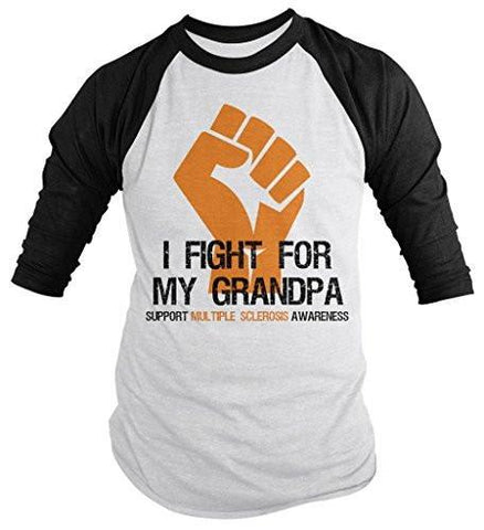 Shirts By Sarah Men's Multiple Sclerosis Awareness Shirt 3/4 Sleeve Fight For Grandpa Fist Orange Ribbon-Shirts By Sarah