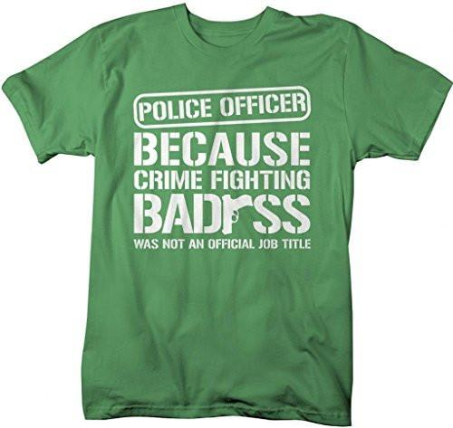 Shirts By Sarah Men's Funny Police Officer T-Shirt Crime Fighting Bad*ss (Gun)-Shirts By Sarah