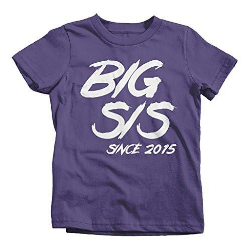 Shirts By Sarah Girl's Big Sis Since 2015 T-Shirt Sister Shirts-Shirts By Sarah