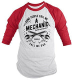 Shirts By Sarah Men's Mechanic Dad T-Shirt Important People Call Me 3/4 Sleeve Raglan-Shirts By Sarah