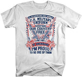 Shirts By Sarah Men's Funny Patriotic Veteran's T-Shirt Wear Military Uniform 4th July Distressed Tee-Shirts By Sarah