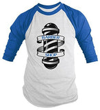Shirts By Sarah Men's Barber Shirts Shop Pole 3/4 Sleeve Raglan Shirt For Barbers-Shirts By Sarah