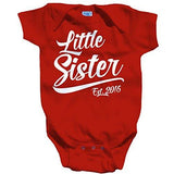 Shirts By Sarah Baby Girl's Little Sister Est. 2016 One Piece Bodysuit - Red / 12 Months - 7