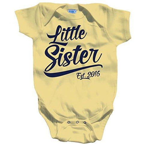 Shirts By Sarah Baby Girl's Little Sister Est. 2016 One Piece Bodysuit - Banana / 12 Months - 2