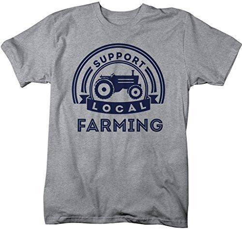 Shirts By Sarah Men's Support Local Farming T-Shirt Tractor Farm Shirts-Shirts By Sarah