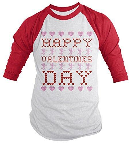 Shirts By Sarah Unisex Ugly Happy Valentine's Day 3/4 Sleeve Raglan Shirt Cupid Hearts Shirts-Shirts By Sarah