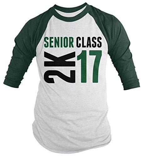 Shirts By Sarah Men's Senior Class 2K 16 2017 Seniors 3/4 Sleeve Raglan Shirt-Shirts By Sarah