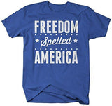 Shirts By Sarah Men's Freedom Spelled America T-Shirt Patriotic 4th July Shirts-Shirts By Sarah